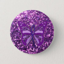 Purple Faux Glitter Butterfly Awareness Button
