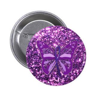 Purple Faux Glitter Butterfly Awareness Button