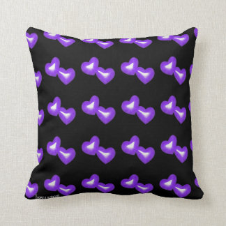 Purple Faux Glitter Happily Ever After Hearts Throw Pillow
