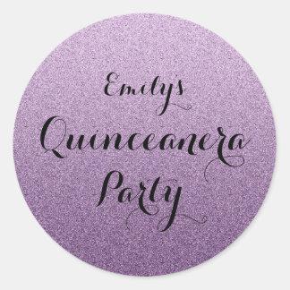 Purple Faux  Glitter Ombre Quinceanera Sticker
