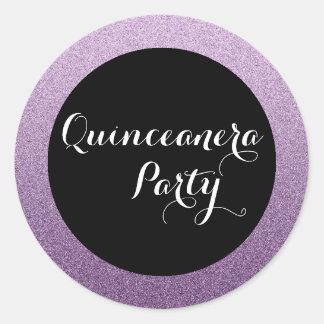 Purple Faux Glitter Quinceanera Favor Seal Sticker