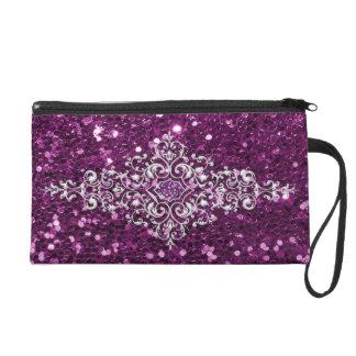 Purple Faux Glitter Silver Jewel Design Wristlet