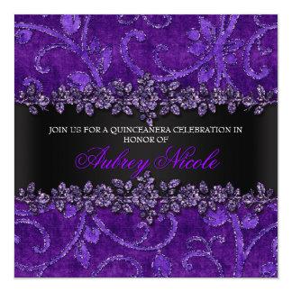 Purple Faux Glitter & Velvet Floral Quinceanera Card