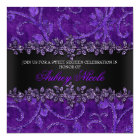 Purple Faux Glitter & Velvet Floral Sweet Sixteen Card