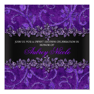 Purple Faux Glitter & Velvet Floral Sweet Sixteen Card