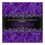 Purple Faux Glitter & Velvet Floral Sweet Sixteen Announcements