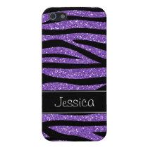 Purple Faux Glitter Zebra Personalized Cover For iPhone SE/5/5s