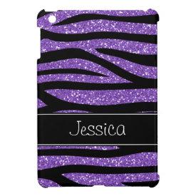 Purple Faux Glitter Zebra Personalized iPad Mini Cover