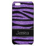 Purple Faux Glitter Zebra Personalized iPhone 5C Case