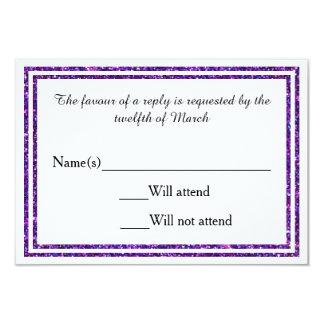 Purple Faux Glittered Trim - RSVP Card