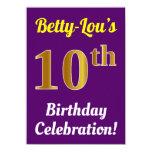 [ Thumbnail: Purple, Faux Gold 10th Birthday Celebration + Name Invitation ]