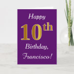 [ Thumbnail: Purple, Faux Gold 10th Birthday + Custom Name Card ]