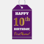 [ Thumbnail: Purple, Faux Gold 10th Birthday + Custom Name Gift Tags ]