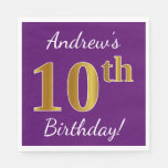 [ Thumbnail: Purple, Faux Gold 10th Birthday + Custom Name Napkin ]