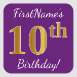 [ Thumbnail: Purple, Faux Gold 10th Birthday + Custom Name Sticker ]
