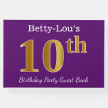 [ Thumbnail: Purple, Faux Gold 10th Birthday Party; Custom Name Guest Book ]