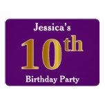 [ Thumbnail: Purple, Faux Gold 10th Birthday Party; Custom Name Invitation ]