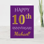 [ Thumbnail: Purple, Faux Gold 10th Wedding Anniversary + Name Card ]