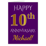 [ Thumbnail: Purple, Faux Gold 10th Wedding Anniversary + Name Card ]