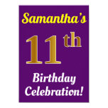 [ Thumbnail: Purple, Faux Gold 11th Birthday Celebration + Name Invitation ]