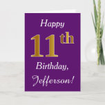 [ Thumbnail: Purple, Faux Gold 11th Birthday + Custom Name Card ]