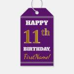 [ Thumbnail: Purple, Faux Gold 11th Birthday + Custom Name Gift Tags ]