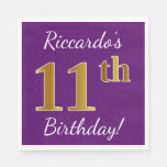 [ Thumbnail: Purple, Faux Gold 11th Birthday + Custom Name Paper Napkin ]