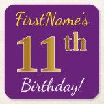 [ Thumbnail: Purple, Faux Gold 11th Birthday + Custom Name Paper Coaster ]