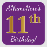 [ Thumbnail: Purple, Faux Gold 11th Birthday + Custom Name Sticker ]