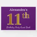 [ Thumbnail: Purple, Faux Gold 11th Birthday Party; Custom Name Guest Book ]