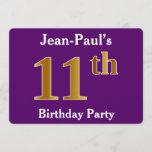 [ Thumbnail: Purple, Faux Gold 11th Birthday Party; Custom Name Invitation ]