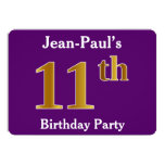 [ Thumbnail: Purple, Faux Gold 11th Birthday Party; Custom Name Invitation ]