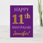 [ Thumbnail: Purple, Faux Gold 11th Wedding Anniversary + Name Card ]