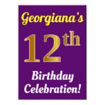 [ Thumbnail: Purple, Faux Gold 12th Birthday Celebration + Name Invitation ]