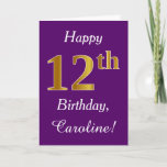 [ Thumbnail: Purple, Faux Gold 12th Birthday + Custom Name Card ]