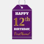 [ Thumbnail: Purple, Faux Gold 12th Birthday + Custom Name Gift Tags ]