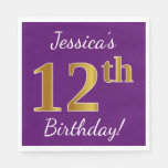 [ Thumbnail: Purple, Faux Gold 12th Birthday + Custom Name Paper Napkin ]