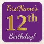 [ Thumbnail: Purple, Faux Gold 12th Birthday + Custom Name Paper Coaster ]