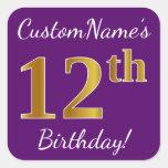 [ Thumbnail: Purple, Faux Gold 12th Birthday + Custom Name Sticker ]
