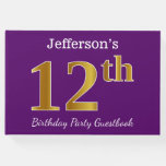 [ Thumbnail: Purple, Faux Gold 12th Birthday Party; Custom Name Guest Book ]