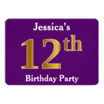 [ Thumbnail: Purple, Faux Gold 12th Birthday Party; Custom Name Invitation ]