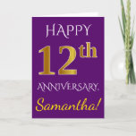 [ Thumbnail: Purple, Faux Gold 12th Wedding Anniversary + Name Card ]