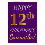 [ Thumbnail: Purple, Faux Gold 12th Wedding Anniversary + Name Card ]