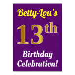 [ Thumbnail: Purple, Faux Gold 13th Birthday Celebration + Name Invitation ]