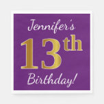 [ Thumbnail: Purple, Faux Gold 13th Birthday + Custom Name Paper Napkin ]