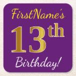 [ Thumbnail: Purple, Faux Gold 13th Birthday + Custom Name Paper Coaster ]