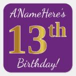 [ Thumbnail: Purple, Faux Gold 13th Birthday + Custom Name Sticker ]