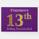 [ Thumbnail: Purple, Faux Gold 13th Birthday Party; Custom Name Guest Book ]