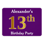 [ Thumbnail: Purple, Faux Gold 13th Birthday Party; Custom Name Invitation ]