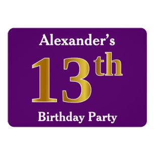 Purple Faux Gold 13th Birthday Party Custom Name Invitation